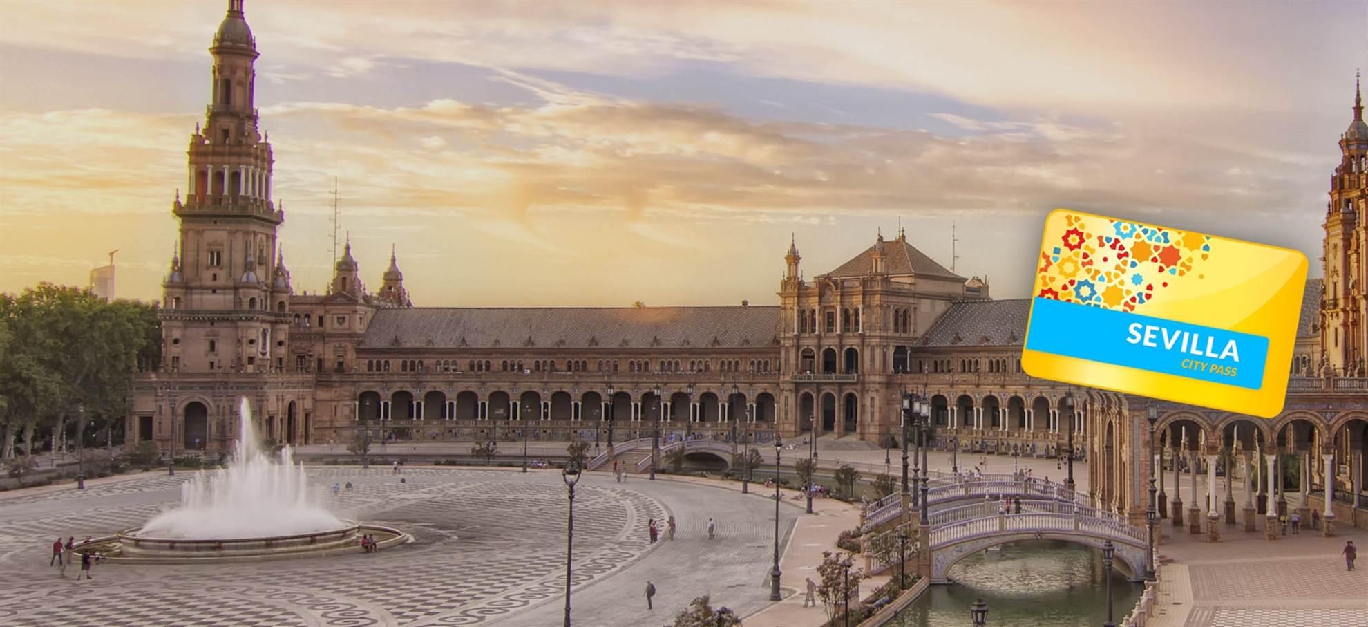 Cartão da Cidade de Sevilha  (Alcazar, Catedral, Transporte público)