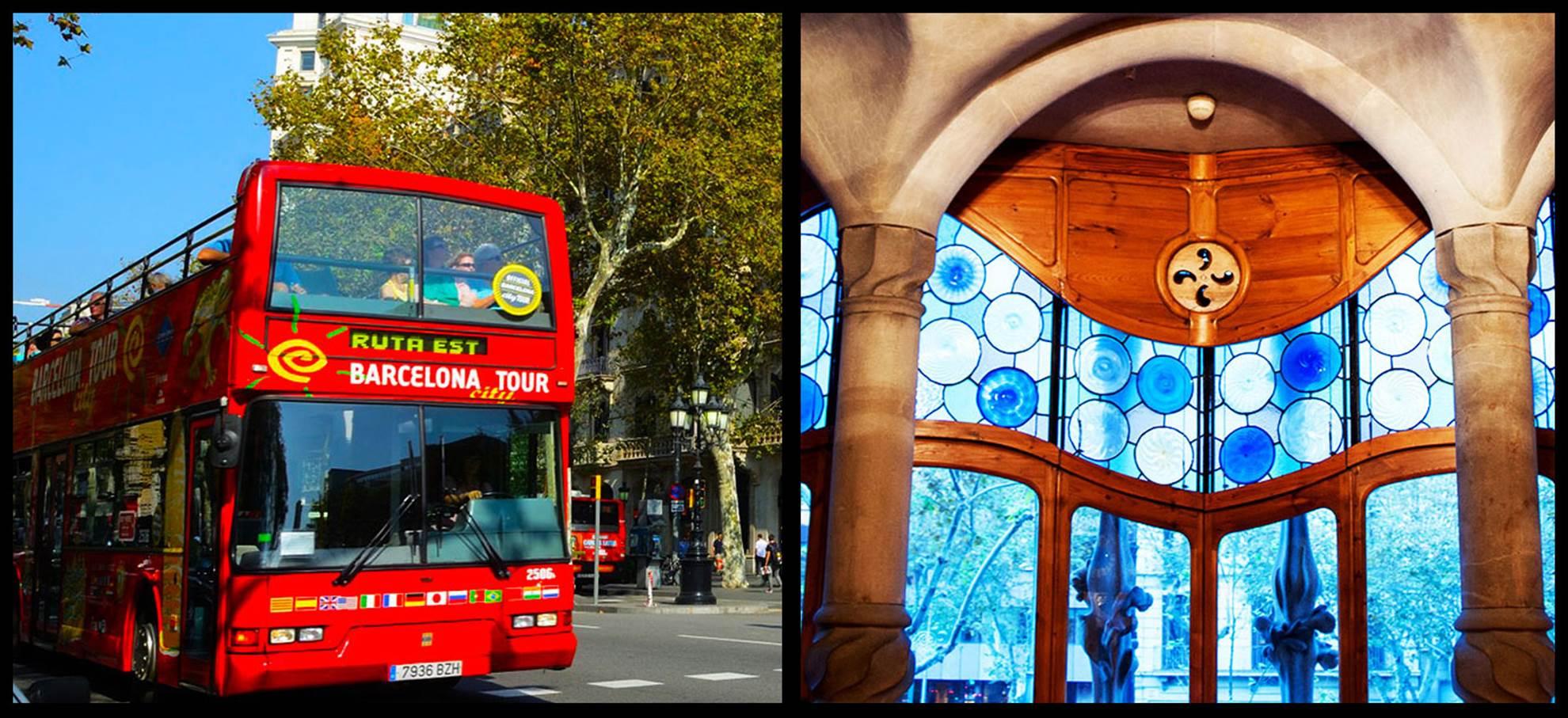 Casa Batlló y autobús turístico