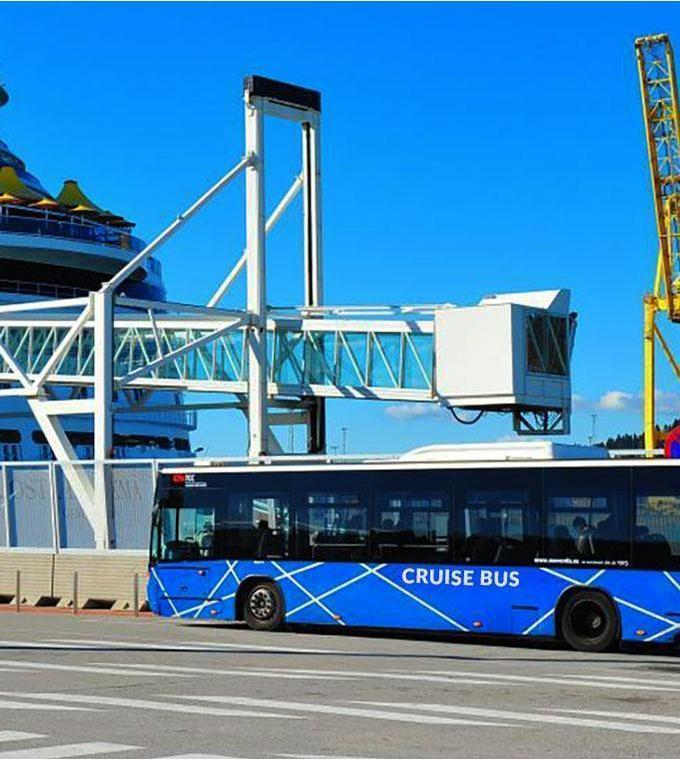Bus transfer from Port of Barcelona to La Rambla