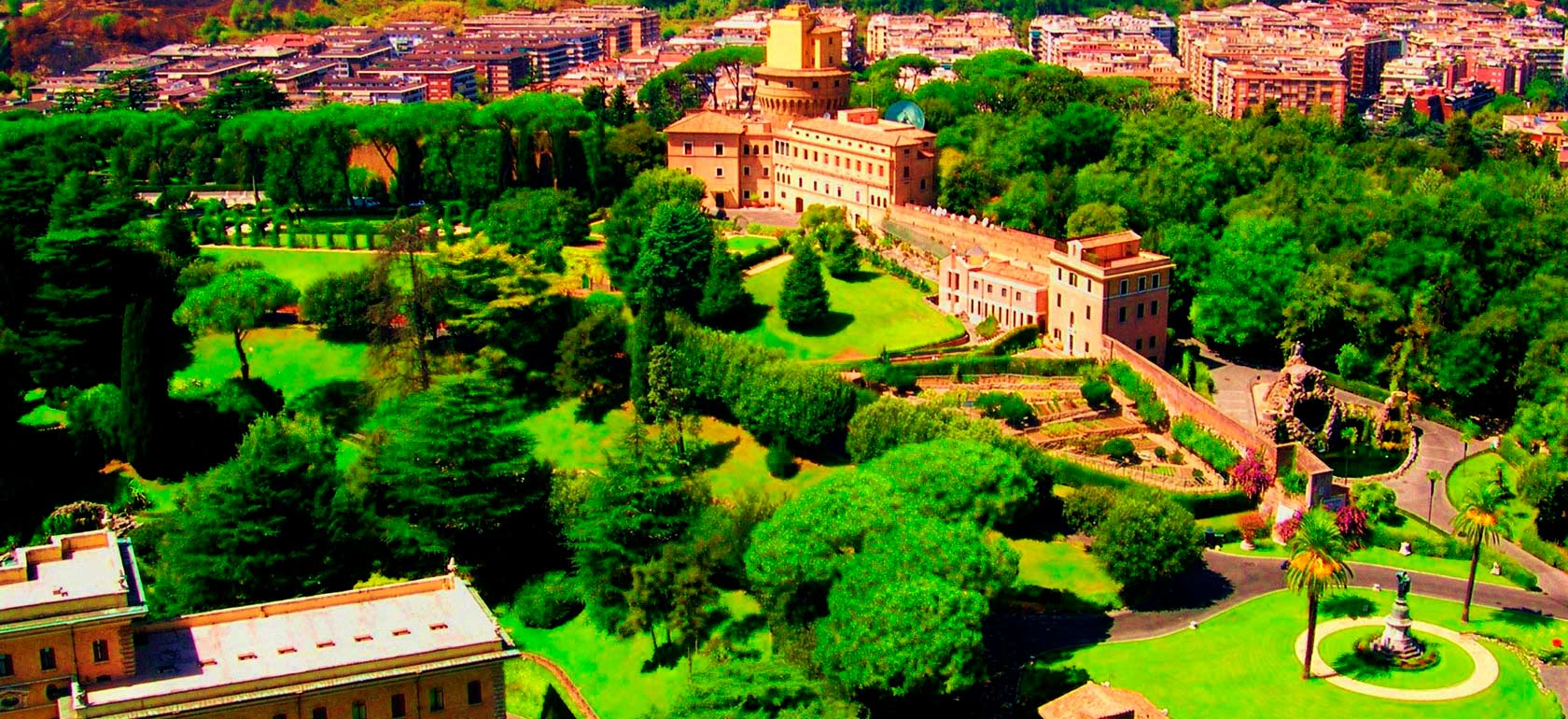 Vatican Gardens in mini Open Bus